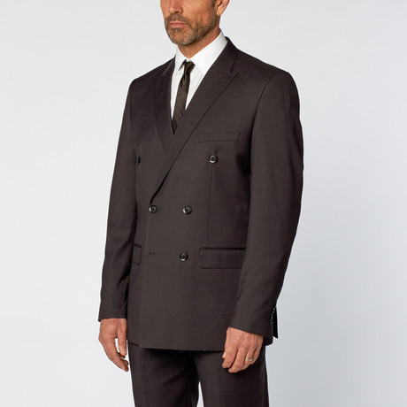 Slim Fit Double Breasted Solid Suit // Charcoal (US: 36S)