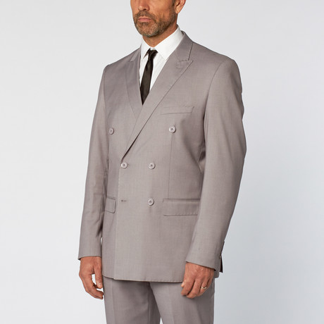 Slim Fit Double Breasted Solid Suit // Light Gray (US: 36S)