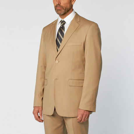 Classic Fit 2-Piece Solid Suit // Tan (US: 36S)