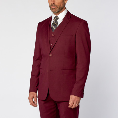 Slim-Fit 3-Piece Solid Suit // OxBlood (US: 36S)