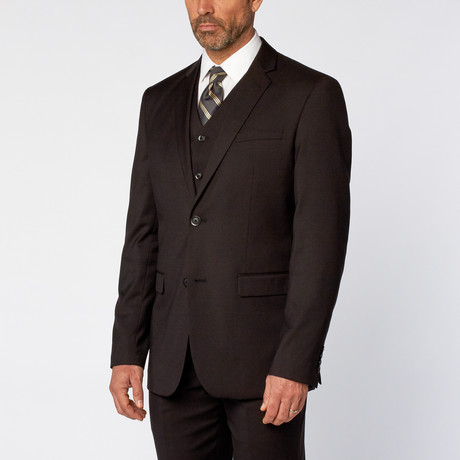 Slim-Fit 3-Piece Solid Suit // Black (US: 36S)