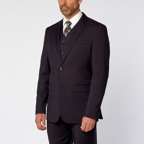 Slim-Fit 3-Piece Solid Suit // Navy (US: 36S)