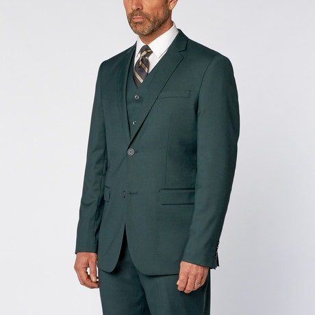 Slim-Fit 3-Piece Solid Suit // Teal Green (US: 36S)