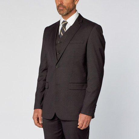 Slim-Fit 3-Piece Solid Suit // Charcoal (US: 36S)
