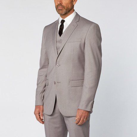 Slim-Fit 3-Piece Solid Suit // Light Gray (US: 36S)