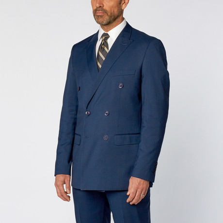 Slim Fit Double Breasted Solid Suit // Teal Blue (US: 36S)