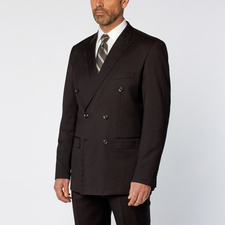 Slim Fit Double Breasted Solid Suit // Black (US: 36S)