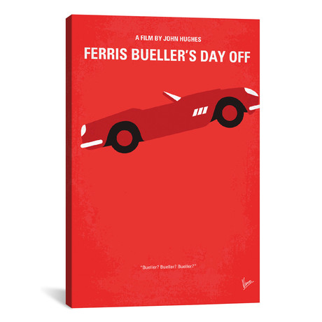 "Ferris Bueller's Day Off Minimal Movie Poster (18""W x 26""H x 0.75""D)"