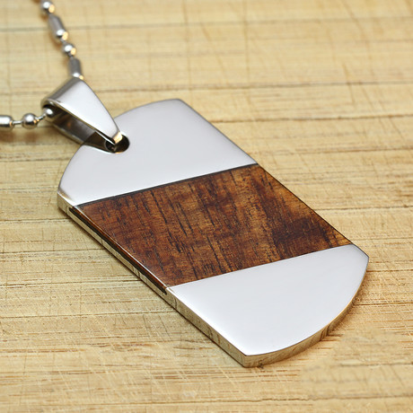 Staineless Steel + Hawaiian Koa Wood Dog Tag Pendant