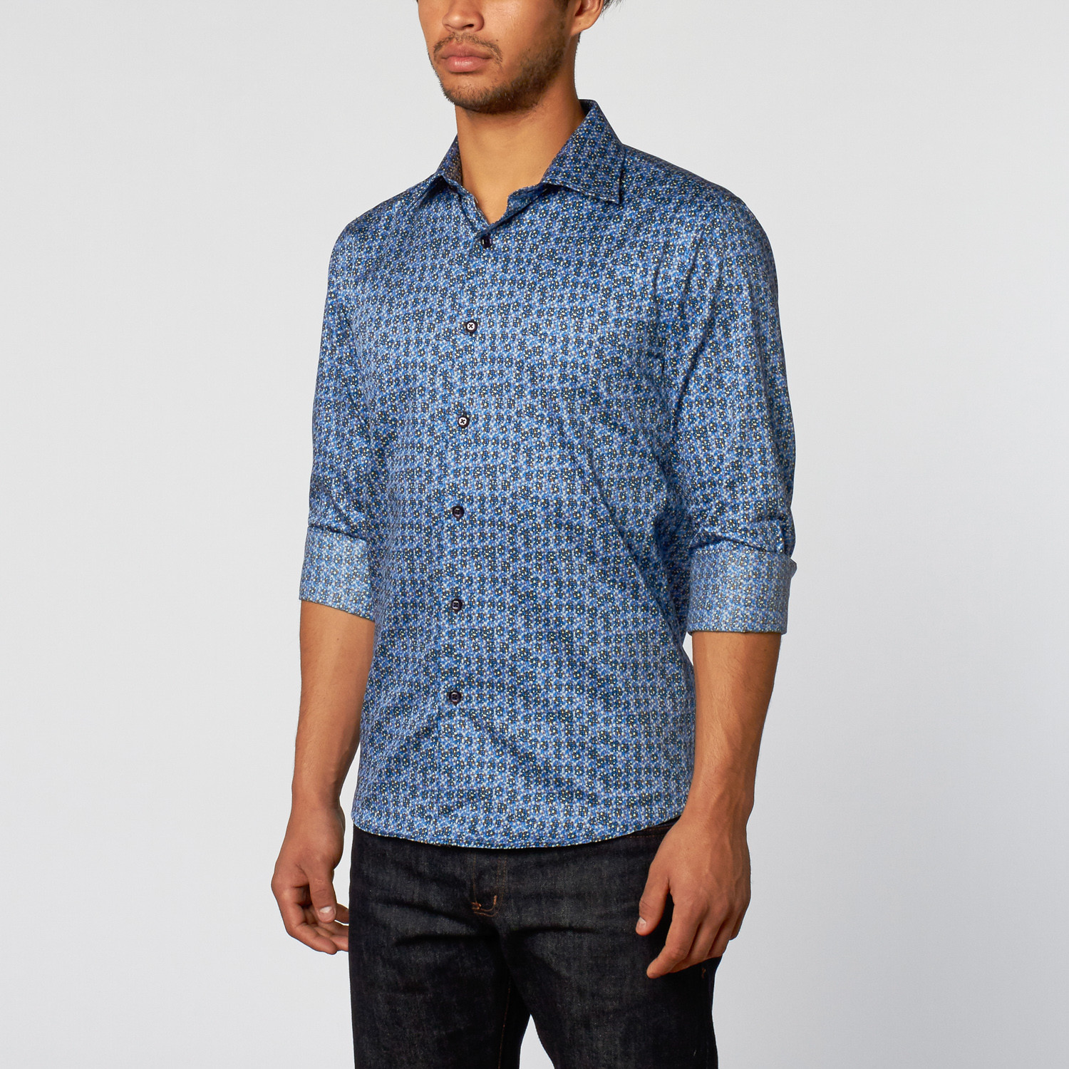 Abstract dot slim fit button up shirt royal xs t r for Royals button up shirt
