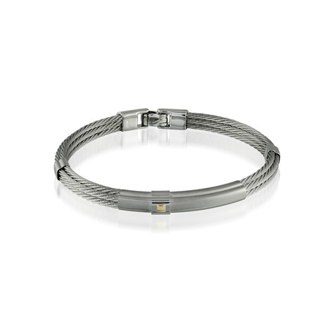 Steel Cable Bracelet + Gold Accent // Silver (XS)