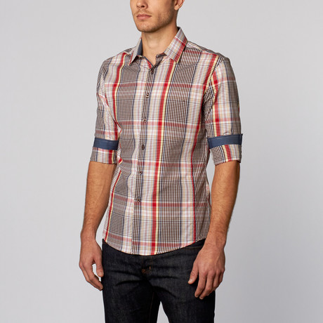 Contrast Plaid Button-Up Shirt // Brown