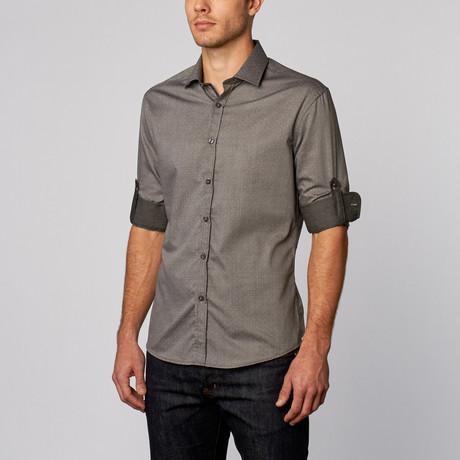 Polka Dot Print Button-Up Shirt // Grey