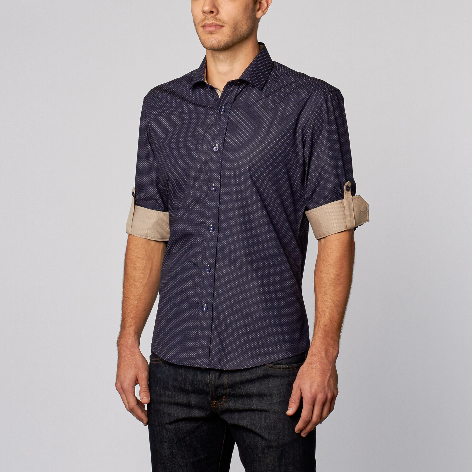 Classic Button Up Shirt Navy S Isaac B Touch Of