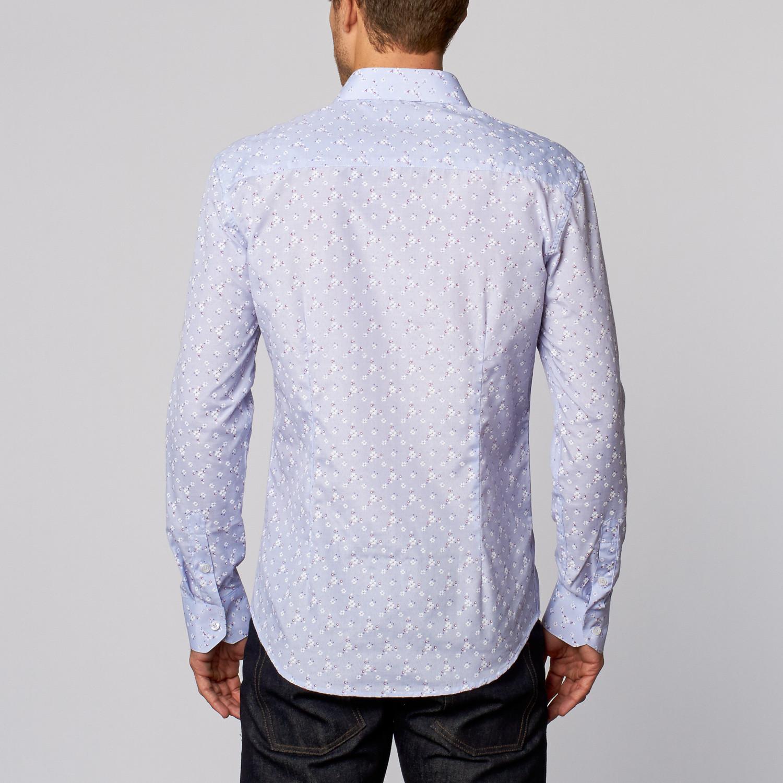 Floral print button up shirt blue s isaac b for Floral print button up shirt