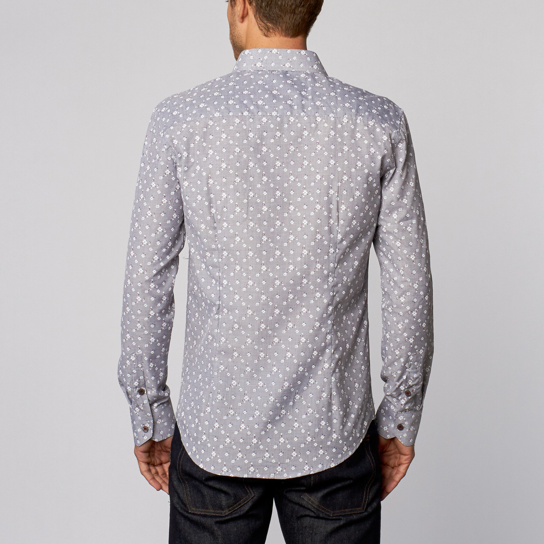 Floral print button up shirt grey s isaac b for Floral print button up shirt