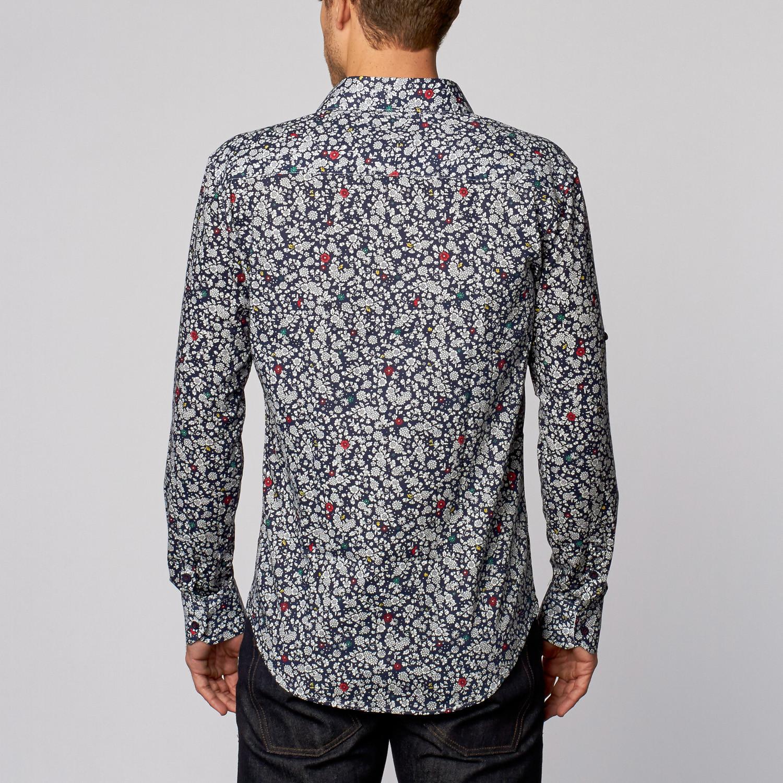 Floral print button up shirt navy s isaac b for Floral print button up shirt