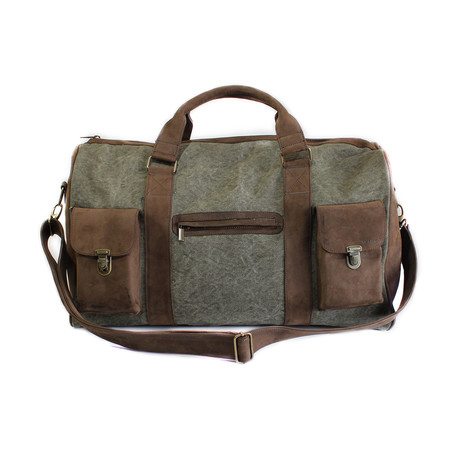 Leather + Canvas Travel Bag (Green)