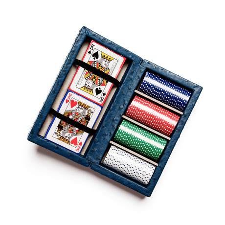 Leather Poker Set (Ostrich Leather)