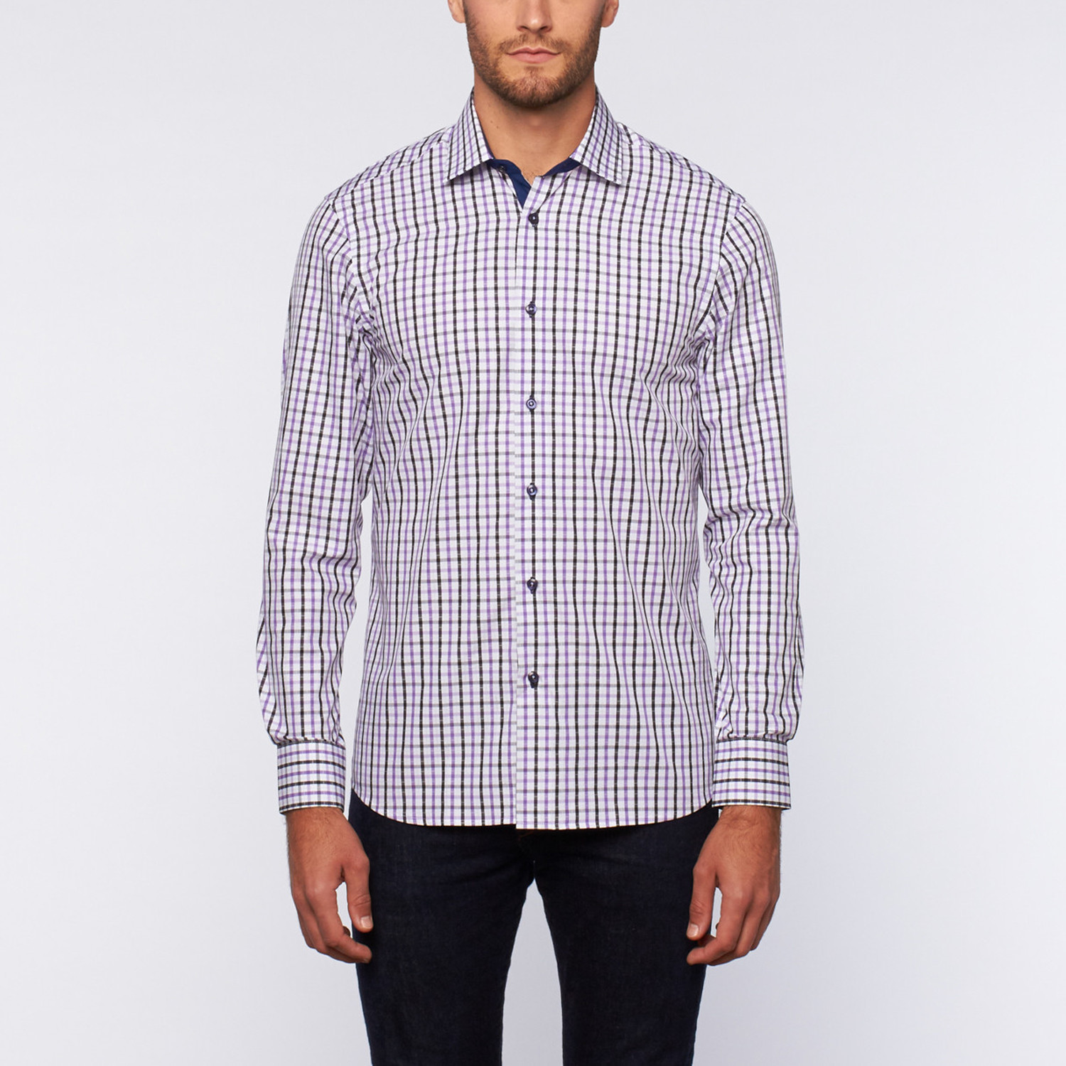 Button Up Shirt Black Purple Shadow Plaid S