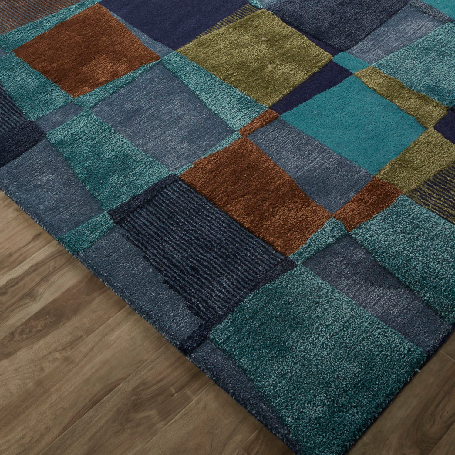 Contemporary Abstract Pattern Area Rug Blue Green 2l X 3w
