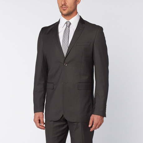 Slim-Fit Top Stitch 2-Piece Suit // Charcoal (US: 36S)