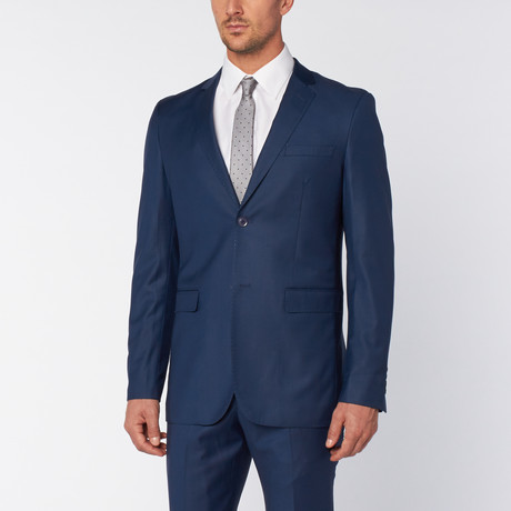 Slim-Fit Top Stitch 2-Piece Suit // Teal Blue (US: 36S)