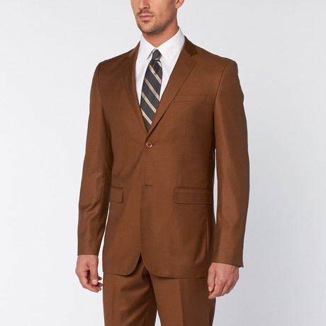 Slim-Fit Top Stitch 2-Piece Suit // Tobacco (US: 36S)