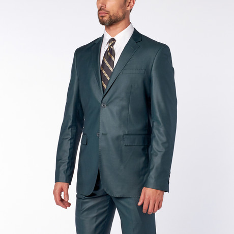 Slim-Fit Top Stitch 2-Piece Suit // Teal Green (US: 36S)