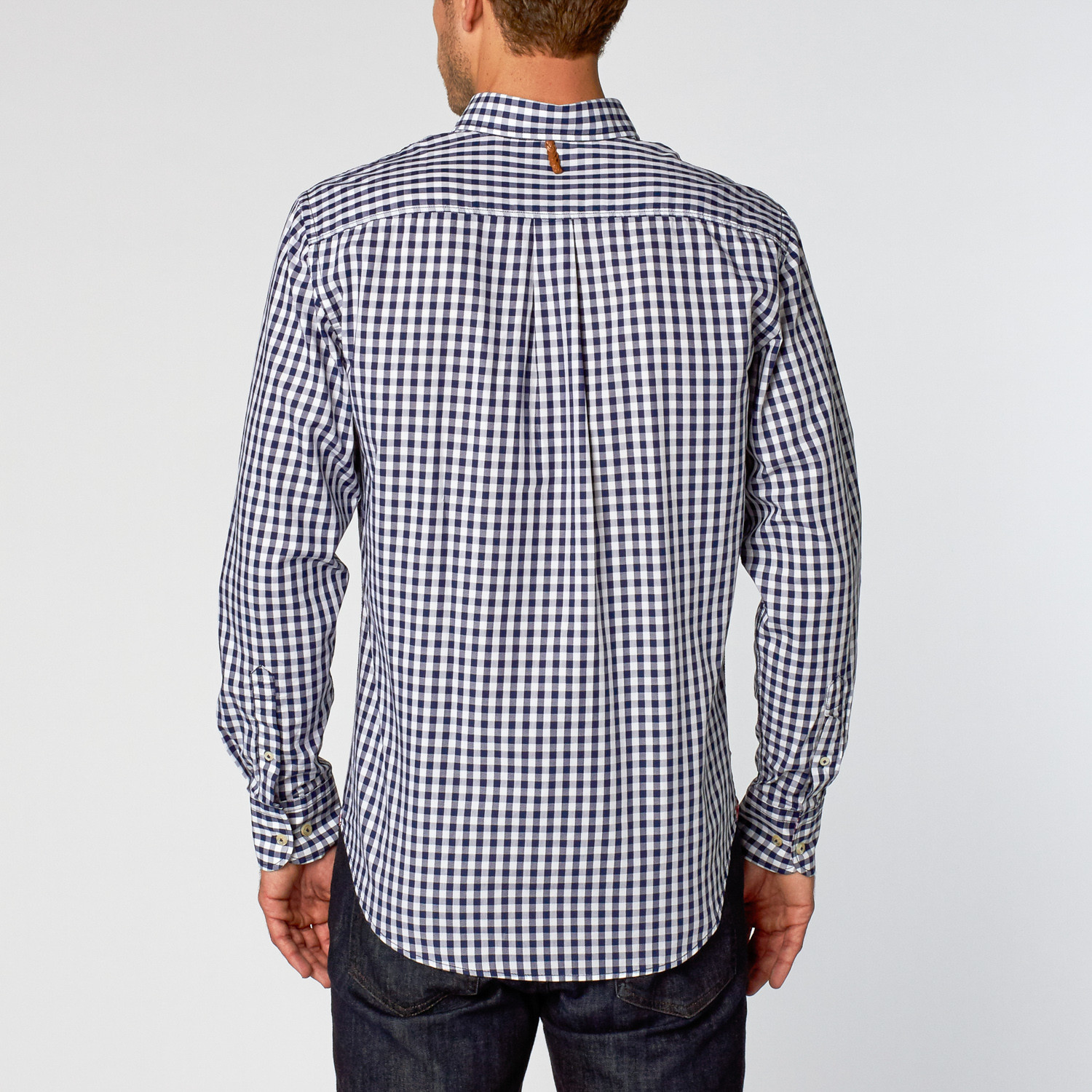 Newton Dress Shirt Navy Gingham S You Shirt Touch