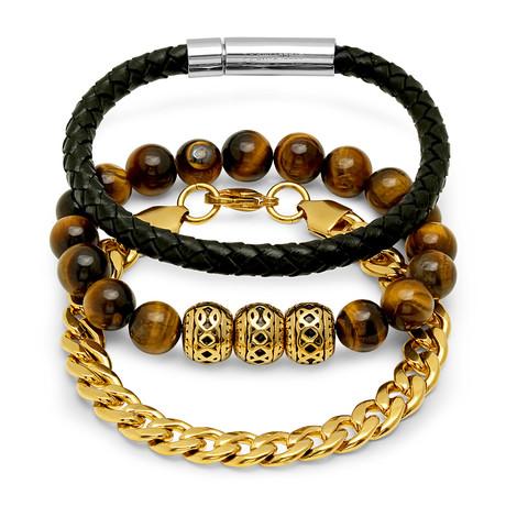 Leather Wood Gold Bracelets // Set of 3