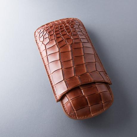 Deep Crocodile Grain Cigar Case // Cognac (Robusto)