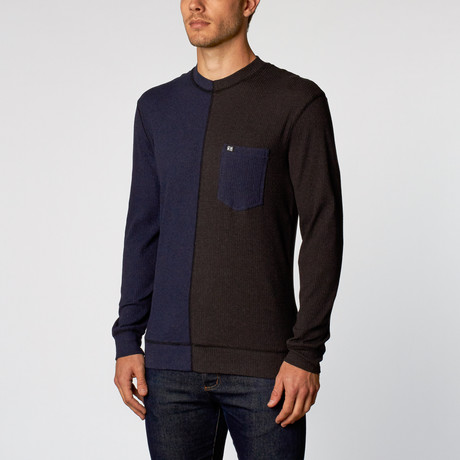 Dian Dual Tone Long Sleeve Thermal // Charcoal + Moon Blue (S)