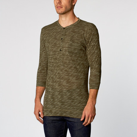 Rengar Slub Knit Long Sleeve Henley // Green (S)