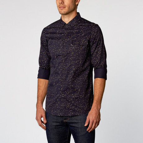 Lucian Speckled Wave Shirt // Navy (S)