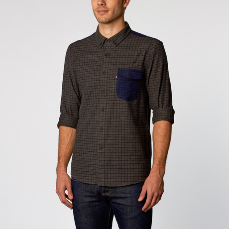 Swain Gridlock Pocket Shirt // Charcoal + Midnight Blue (S)