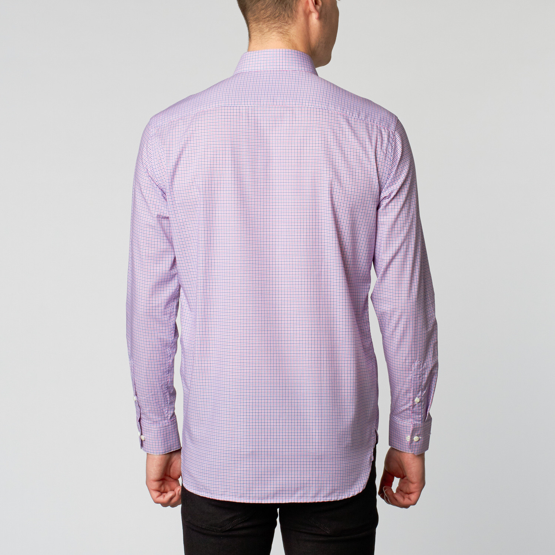 Slim fit dress shirt blue pink plaid us for Pink checkered dress shirt