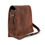 "Flap Messenger // Brown (13""L x 10""W x 4""H)"
