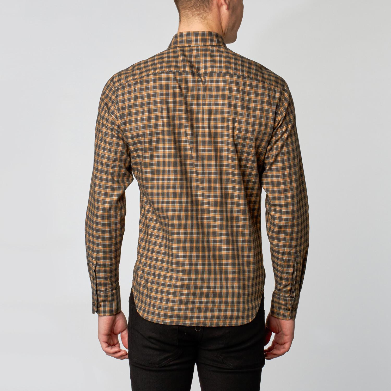Button down collar dress shirt saddle charcoal plaid for Button down collar dress shirts
