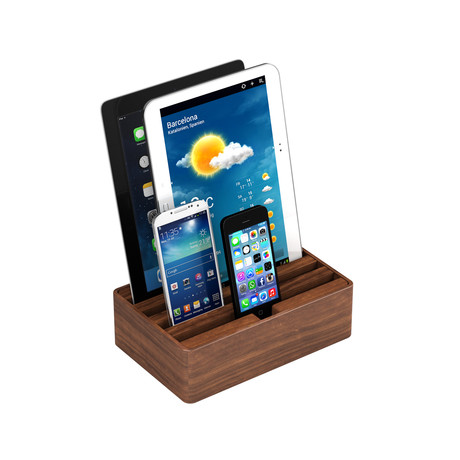 universal charging station walnut medium all dock touch of modern. Black Bedroom Furniture Sets. Home Design Ideas