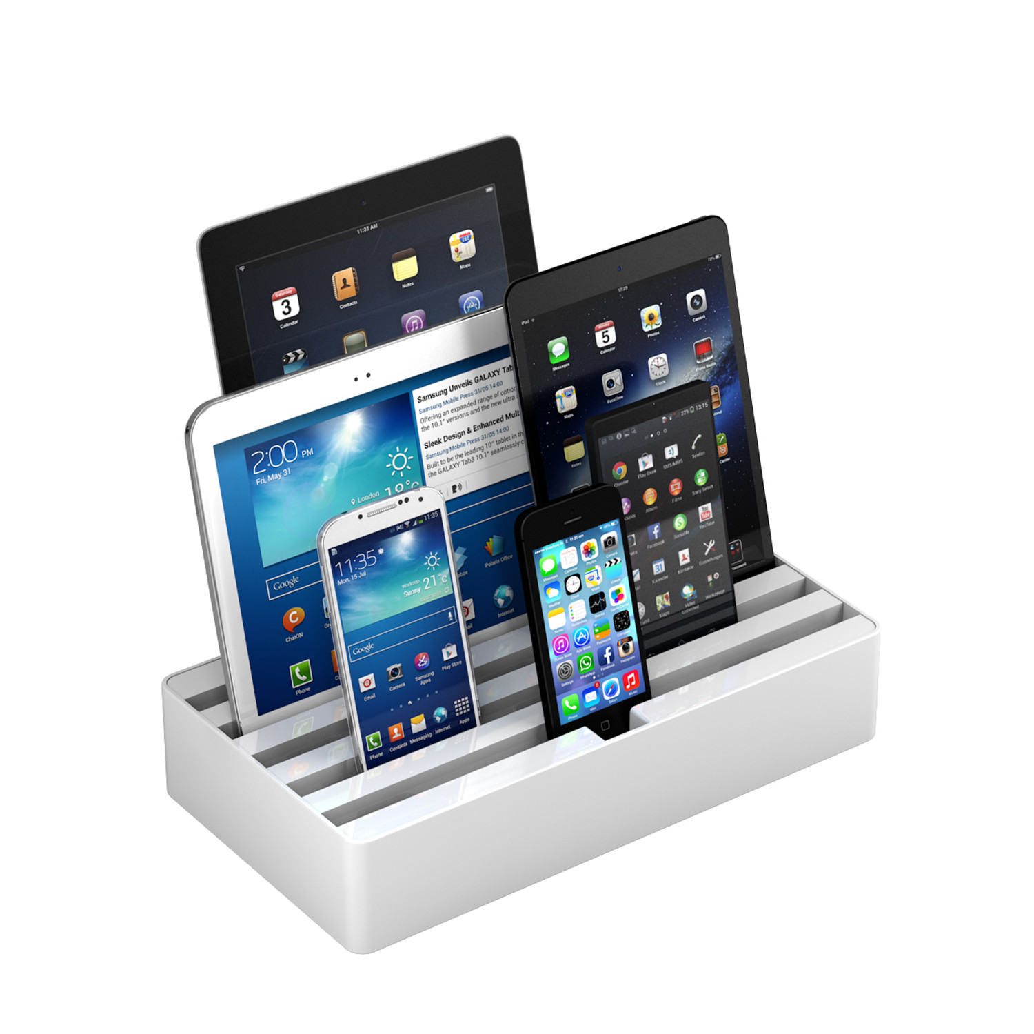 universal charging station white medium all dock touch of modern. Black Bedroom Furniture Sets. Home Design Ideas