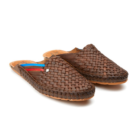 Daily Stripes Sandals // Brown + Blue + Red