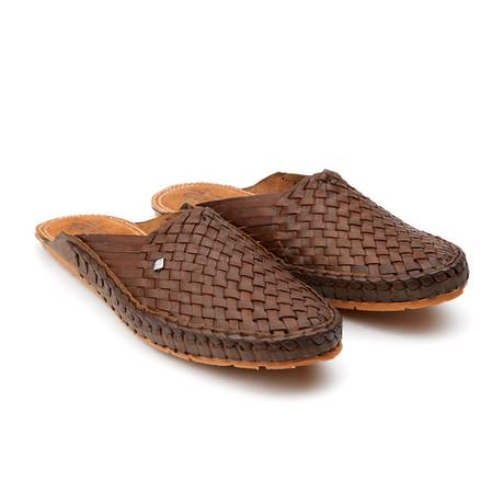Daily Plain Stripe Sandals // Brown