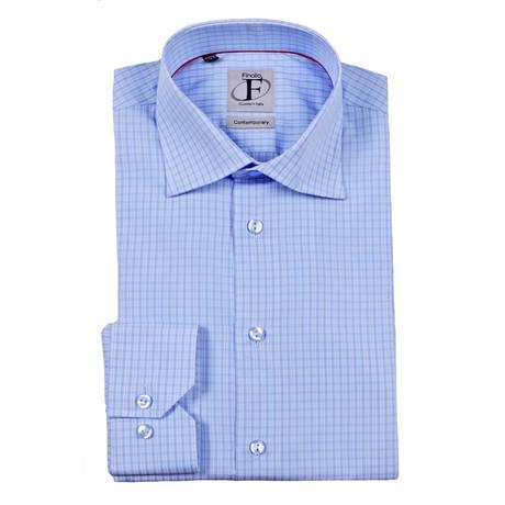 Micro Plaid Button-Down Shirt // Light Blue