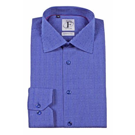 Pin Stripe + Embroidery Button-Down Shirt // Blue