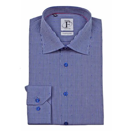 Candy Stripe + Pin Dot Button-Down Shirt // Blue