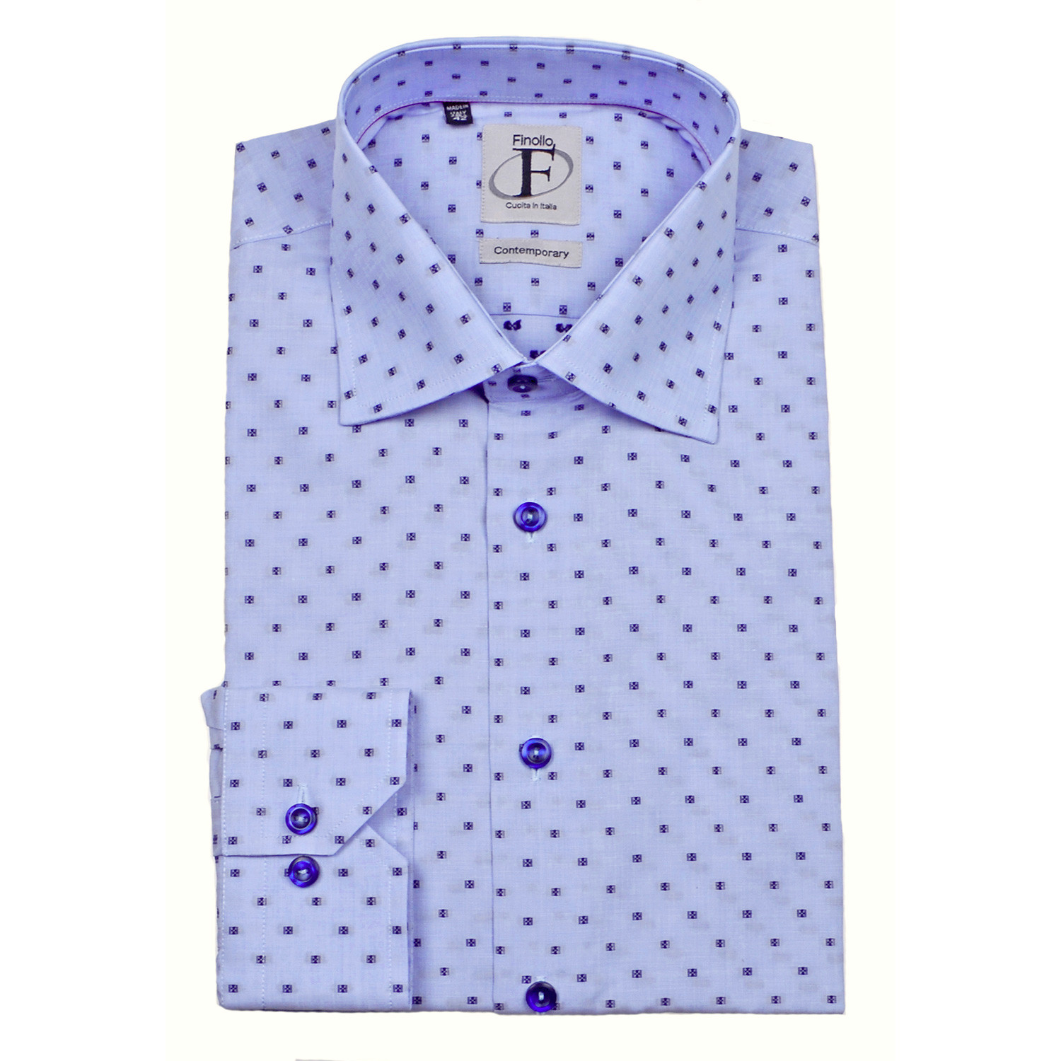 Dotted Pattern Weave Button Up Shirt Blue Navy Us