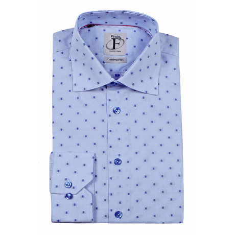 Dotted Pattern Weave Button-Down Shirt // White + Light Blue