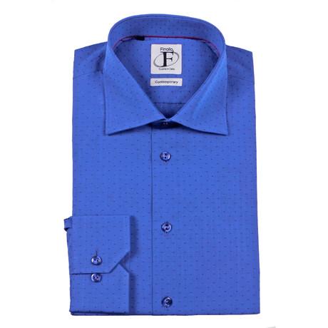 Pin Dot Weave Button-Down Shirt // Royal Blue + Navy