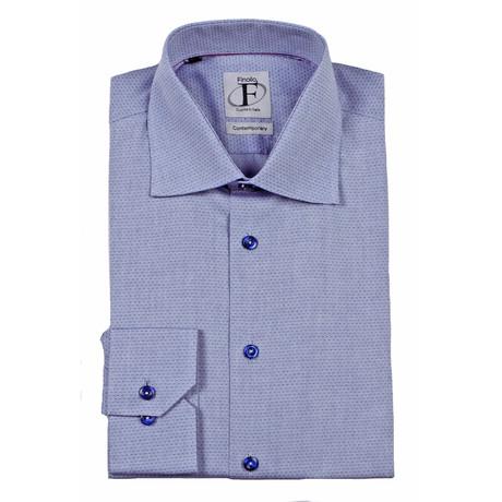 Pin Dot Weave Button-Down Shirt // Grey + Navy